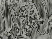 Hararna fångar och steker jägaren